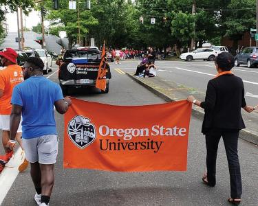Oregon State participated in the Good in the Hood parade in Portland.
